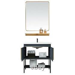 Bathroom Vanity WithMirror Ceramics Vessel Sink Faucet Set Cabinet Stainless Steel