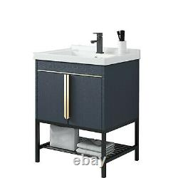 Bathroom With Mirror Vanity Stand Stainless Steel Cabinet Ceramic Sink Faucet Set