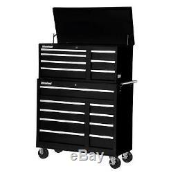Black Rolling Cabinet Tool Chest Set Lockable Workshop Storage 42 in. 16 Drawer