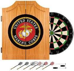 Brand New United States Marine Corps Wood Dart Cabinet Set