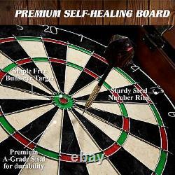 Bristle Dart Board & Cabinet Set W 6 Steel Tip Darts Flight Scoreboard Dartboard