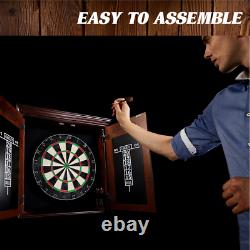 Bristle Dart Board and Wood Cabinet Set Scoreboard and Accessories