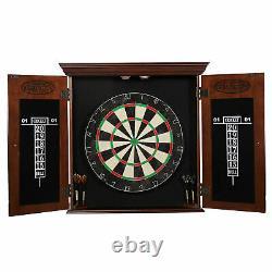 Bristle Dartboard Cabinet Set, Steel Tip Darts, Brown