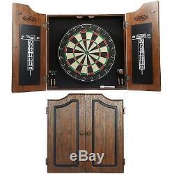 Bristle Dartboard Cabinet Wood Set 6 Steel Tip Darts High Quality Sisal Board