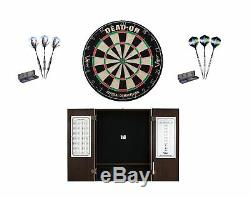 Bristle Dartboard + Espresso Steel Tip Cabinet + Black Mamba Darts Sets