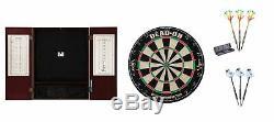 Bristle Dartboard + Mahogany Steel Tip Cabinet + 2 X Tungsten Darts Sets