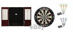 Bristle Dartboard + Mahogany Steel Tip Cabinet + 90% Tungsten Darts Sets
