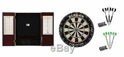 Bristle Dartboard + Mahogany Steel Tip Cabinet + Black Darts + Silver Set