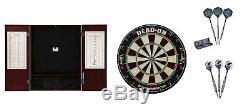 Bristle Dartboard + Mahogany Steel Tip Cabinet + Rhino/Raven Dart Set