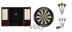 Bristle Dartboard + Mahogany Steel Tip Cabinet + Tungsten Darts Sets