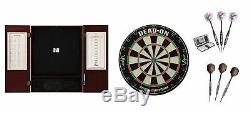 Bristle Dartboard + Mahogany Steel Tip Cabinet + Vanity + Celtic Dart Sets