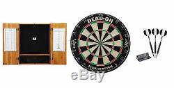 Bristle Dartboard + Oak Cabinet + Black Steel Tip Darts Set