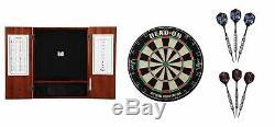 Bristle Dartboard + Steel Tip Dartboard Cabinet + 2 x Darts Sets, 24 Grams