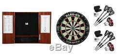 Bristle Dartboard + Steel Tip Dartboard Cabinet + 2 x Tungsten Darts Sets