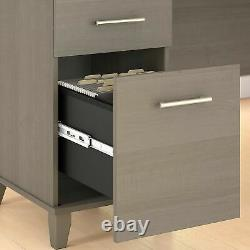 Bush Furniture 72W 3 Position Sit-Stand L-Desk with Hutch & File Cabinet, Ash