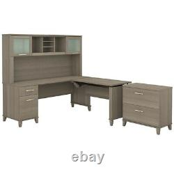 Bush Furniture Somerset 72W Sit to Stand L Desk with Hutch and File Cabinet