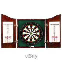 Centerpoint Solid Wood Sisal Dartboard & Cabinet with Darts Steel Bristle Set
