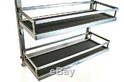 Chrome Steel Cabinet Spice Rack- 3 Shelves Full Pullout Left Side Mounts Set