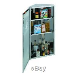Corner Medicine Cabinet Satin Brushed Stainless Steel Set of 2