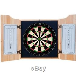 Corona Dart Board Set with Cabinet 6 Steel Tip Darts and Sisal Fiber Dartboard