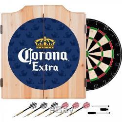 Corona Extra Dart Board Set w Cabinet 6 Steel Tip Darts Sisal Fiber Dartboard