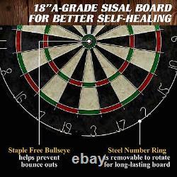 DARTBOARD CABINET SET Bristle Dart Board with LED Light Steel Tip Darts Flights