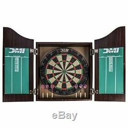 DMI Sports Deluxe Bristle Dartboard Cabinet Set Includes Two Steel Dart Sets