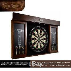 Dart Board Cabinet Set Led Light Cricket Self Healing 6 Steel Tip Darts Game New