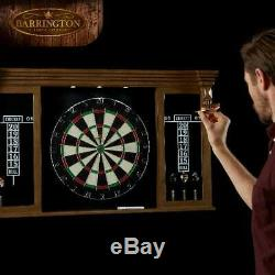 Dart Board Cabinet Set Premium Bristle Dartboard Steel Tip Darts LED Lights