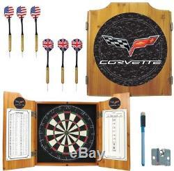 Dart Board Trademark Corvette Model Wood Finish Cabinet Set Steel Tipped Darts