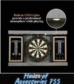 Dartboard Cabinet & Dart Board Set LED Lights 6 Steel Tip Darts and Flights 40