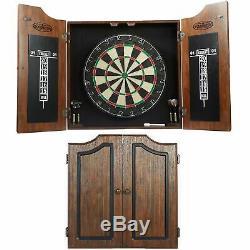 Dartboard Cabinet Set 6 Steel Tip Darts High Quality Self-Healing Sisal Board