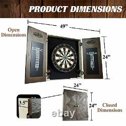 Dartboard Cabinet Set Bristle Steel Tip Darts Brown Game Room Durable Removable