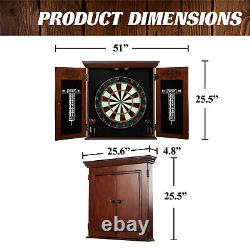 Dartboard Cabinet Set Brown Game Room Self Healing Bristle Removable Steel Play