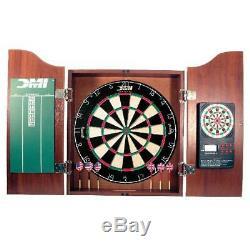 Dartboard Cabinet Set Deluxe Steel Tip Darts Electronic Scoreboard Game Sport