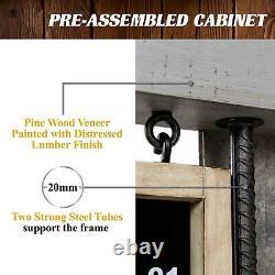 Dartboard Cabinet Set Game Room LED Lights Steel Tip Dart Play Heavy Duty Modern