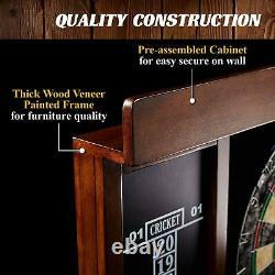 Dartboard Cabinet Set LED Light Steel Tip Darts Brown Black Removable Durable