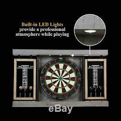 Dartboard Cabinet Set LED Light Steel Tip Darts Built-in Scoreboards Wood Frame