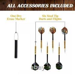 Dartboard Cabinet Set, LED Lights, Steel Tip Darts Brown/Black Barrington 40