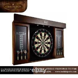 Dartboard Cabinet Set LED Lights Steel Tip Darts Brown Easily Visible Black 40