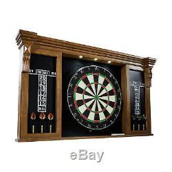 Dartboard Cabinet Set LED Lights Steel Tip Darts Self-Healing Board Brown Black