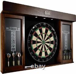 Dartboard Cabinet Set LED Lights Steel Tip Darts Thick Wood Frame Brown Black