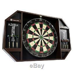 Dartboard Cabinet Set Sports Led Light Built-in 2-cricket 6 Steel Tip Darts Fun
