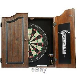 Dartboard Cabinet Set with 6 Steel Tip Darts, High Quality Self-healing Sisal Bo