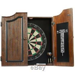 Dartboard Cabinet Wood Set 6 Steel Tip Dart Chalk Board Self Healing Finish