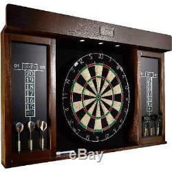 Dartboard Set Cabinet Wood LED Lights Steel Tip Darts Marker Eraser Scoreboards