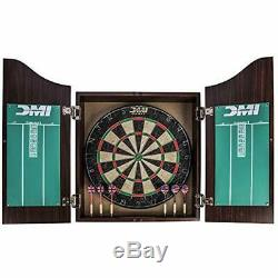 Deluxe Bristle Dartboard Cabinet Set Includes Two Steel Sets With Rustic Finish