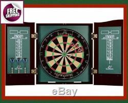 Deluxe Set Barrington Bristle Dartboard Cabinet 6 Steel Tip Dart Board Game New