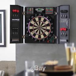 Electronic Dart Board Cabinet Set Soft Bristle Safe Steel Darts Light Pro Game