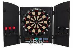 Electronic Dartboard Cabinet Set Bullshooter Game Black Wood Doors Portable Gift